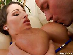 Hot brunette big tits being stimulated by a horny male