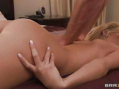 Hot blonde getting oiled for a massage