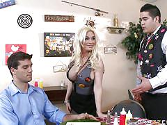 Hot blonde getting fired for showing tits