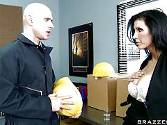 Hot brunette gets her tits licked by johnny sins