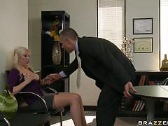 Hot blonde fucks for a new job