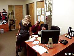 Hot boss gets fun with her employees