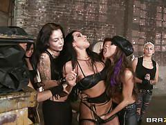bdsm, public invasion, lesbians, foursome, punishment, lingerie, brunette, pussy eating, celeste star, brianna jordan, hot and mean, brazzers, jugg cash