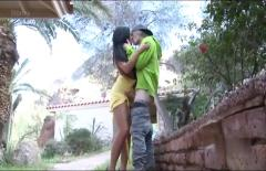 Sweet black-haired - outdoor sex
