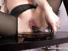 brunette, wet, masturbation, trimmed-pussy, close-up, pantyhose, speculum, peeing, piss-drinking, watersports, diving, golden-shower, sex-toys, solo-girl