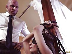 milf, bdsm, big tits, big cock, blowjob, blindfolded, pussy rubbing, tied hands, real wife stories, brazzers, madison ivy, johnny sins