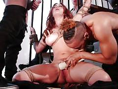 Redhead busty milf enjoys rough interracial gang bang