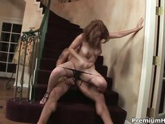 Busty milf redhead ginger blaze gets nailed on the stairs