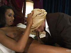 Towel on the head and a cock in the mouth
