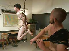 whipping, gay handjob, gay bondage, gay blowjob, licking feet, tied on table, hanging gay, bound gods, kink men, rowen jackson, adam herst