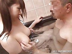 Pony tails asian chick fucked in the bathtub