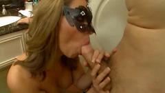 Masked brunette fuck and swallow cum