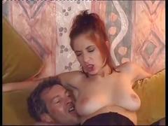 Hot redhead slut slammed by two guys in a little orgy