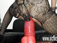 Gigantic dildo fucking with amateur milf sarah
