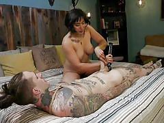 handjob, femdom, asian, mistress, dominatrix, busty, vibrator, tattooed, riding cock, short haired, divine bitches, kink, ruckus, mia little