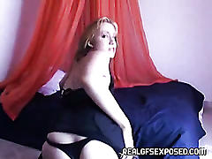 Busty amateur tapes a sensual striptease