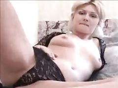 Blonde slut plays with herself