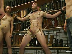 Pretty gay tied and humiliated in a shoe store
