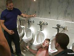 Tied up boys gets a lot of piss on his face