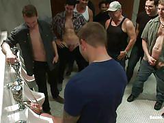 tattoo, bondage, bdsm, pissing, gangbang, toilet, bound, blowjob, humiliation, tied up, hard dick, gay, hairy cock, ropes, urinals, colby jansen, sebastian keys, tristan jaxx, tyler alexander, michael sade