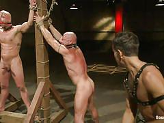 bondage, bdsm, whipping, tatoo, bald, cage, tattooed, gays, tied up, shocking, muscular body, gay foursome, ropes, vault, gag, master avery, chad rock, scratch, van darkholme, chad brock