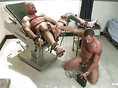 tied, punishment, gay bdsm, tattooed, electric, gay handjob, hard cock, anal plug, gay blowjob, muscled gay, bondage device, bald gay, mitch vaughn, morgan black, bound gods, kinky dollars