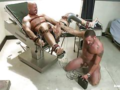 tied, punishment, gay bdsm, tattooed, electric, gay handjob, hard cock, anal plug, gay blowjob, muscled gay, bondage device, bald gay, mitch vaughn, morgan black, bound gods, kinky dollars
