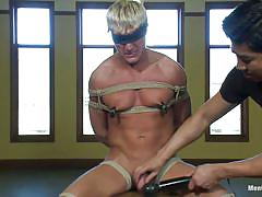 handjob, bondage, small cock, dildo, vibrator, blindfolded, gay bdsm, tied up, blonde gay, gay domination, hunk, muscled gay, ropes, on chair, executor, clamps on nipples, gavin waters, men on edge, kinky dollars