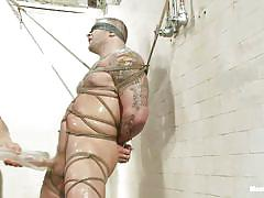 bondage, tatoo, shower, huge dildo, blindfolded, gay bdsm, tied up, gay handjob, sex toy, ropes, vagina imitator, executor, colby jansen, men on edge, kinky dollars