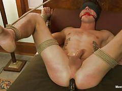 tattoo, handjob, bondage, bdsm, torture, domination, anal dildo, blindfolded, moaning, gays, tied up, ropes, ball gag, trent diesel, men on edge, kinky dollars