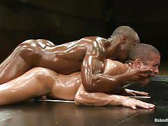 pain, condom, interracial, wrestling, domination, tatoo, oiled, gays, from behind, anal sex, floor, hunk, mouth fingering, muscled gay, tatami, trey turner, race cooper, naked kombat, kinky dollars