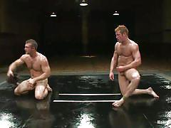 Oiled gays wrestling and fucking for domination