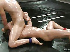 Oiled gays fighting and fucking wild