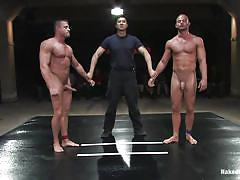 Oiled muscled gays wrestling