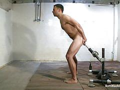 Solo gay masturbating and uses a fucking machine