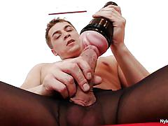 Gay trying to pleasure himself with help of toy