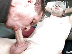 Blindfolded guy gets a nice surprise - gay blowjob