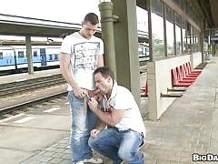 Cool dudes doing dick sucking at station!