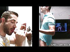 Gloryhole treats a straight man and a gay dude!