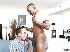 Sexy black guy getting a blowjob