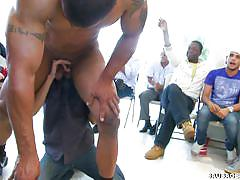 A gay party with a striper and a blowjob