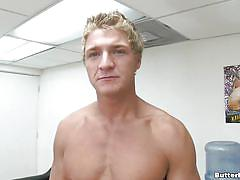 Blonde guy at interview
