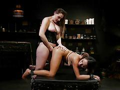 Punished and fucked with a huge strap-on by the busty lesbian