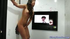 Beautiful latina teen banged through a gloryhole