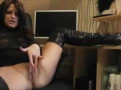 Horny milf finger bangs her pussy