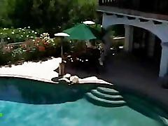 Naudia nyce, poolside blowjob, cum in mouth, swallow