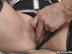 Sensual mature gets banged hard by a young stud