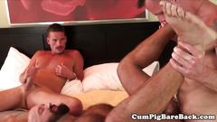 Mature bear banged and jizzed all over body
