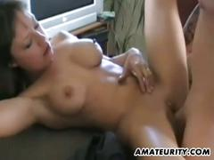 Busty amateur brunette gets banged very hard