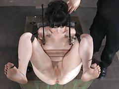 milf, bdsm, screaming, pussy torture, black hair, clamps, metal hook, infernal restraints, siouxsie q